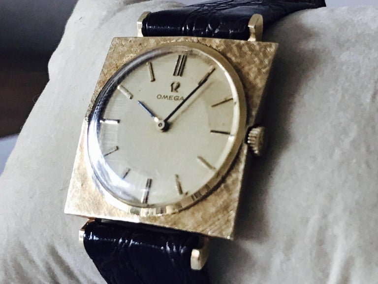 Swiss Omega Textured Gold Dress Watch For Sale