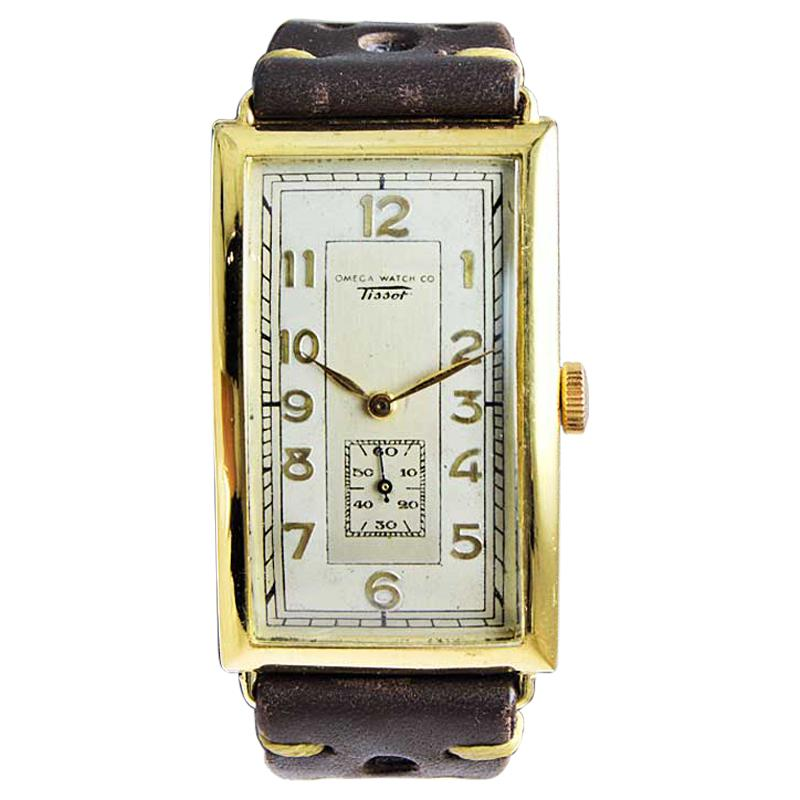 Omega / Tissot Art Deco Yellow Gold Filled Rare Watch with Original Dial, 1930s