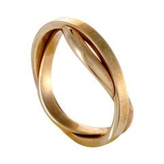 Omega Twisted Unisex 18 Karat Yellow Gold Wedding Band Ring