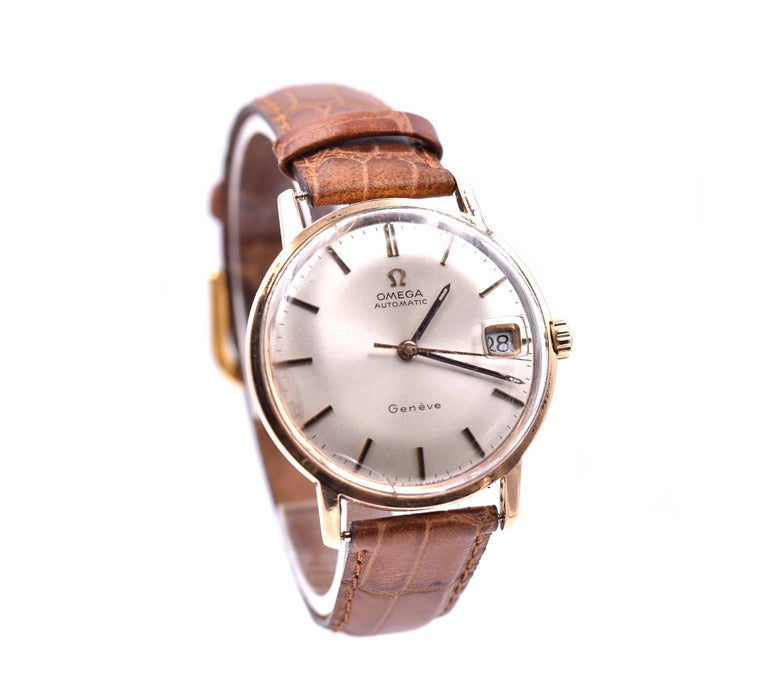 Brand: Omega Movement: automatic Function: hours, minutes, seconds, date Case: 33mm case, sapphire crystal, screw down crown, Band: brown leather strap with buckle Dial: silver stick dial Movement Serial #: 26395XXX Casse Reference #: 166037   No