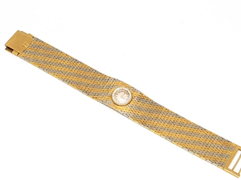 Omega Vintage 18 Karat Yellow White Gold Classic Wide Bracelet Manual Watch For Sale 1