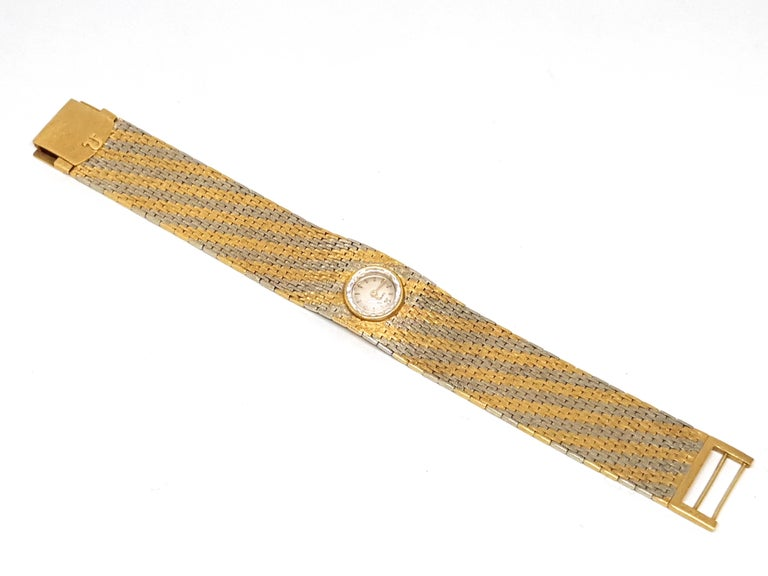 Omega Vintage 18 Karat Yellow White Gold Classic Wide Bracelet Manual Watch For Sale 2