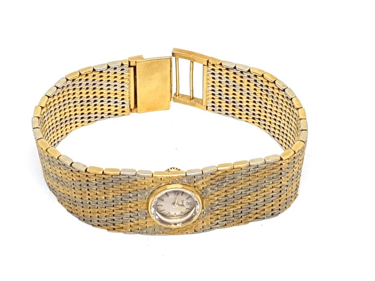 Omega Vintage 18 Karat Yellow White Gold Classic Wide Bracelet Manual Watch For Sale 3