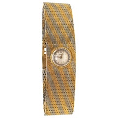 Omega Vintage 18 Karat Yellow White Gold Classic Wide Bracelet Manual Watch