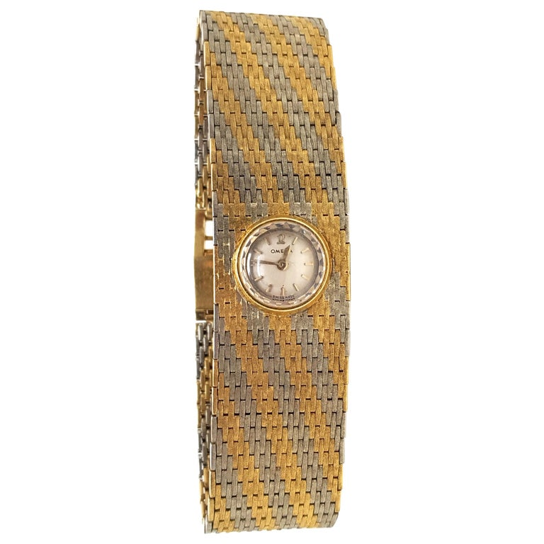 Omega Vintage 18 Karat Yellow White Gold Classic Wide Bracelet Manual Watch For Sale