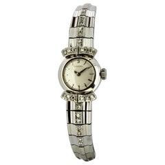 Omega Vintage 18 Karat White Gold and Diamond Ladies Manual Winding Wristwatch
