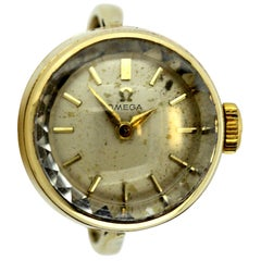 Omega, Vintage 9 Karat Gold Manual Winding Ring Watch, Birmingham, 1961