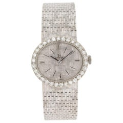 OMEGA Vintage Lady's Dress Watch 27mm 18kt White Gold with Diamonds