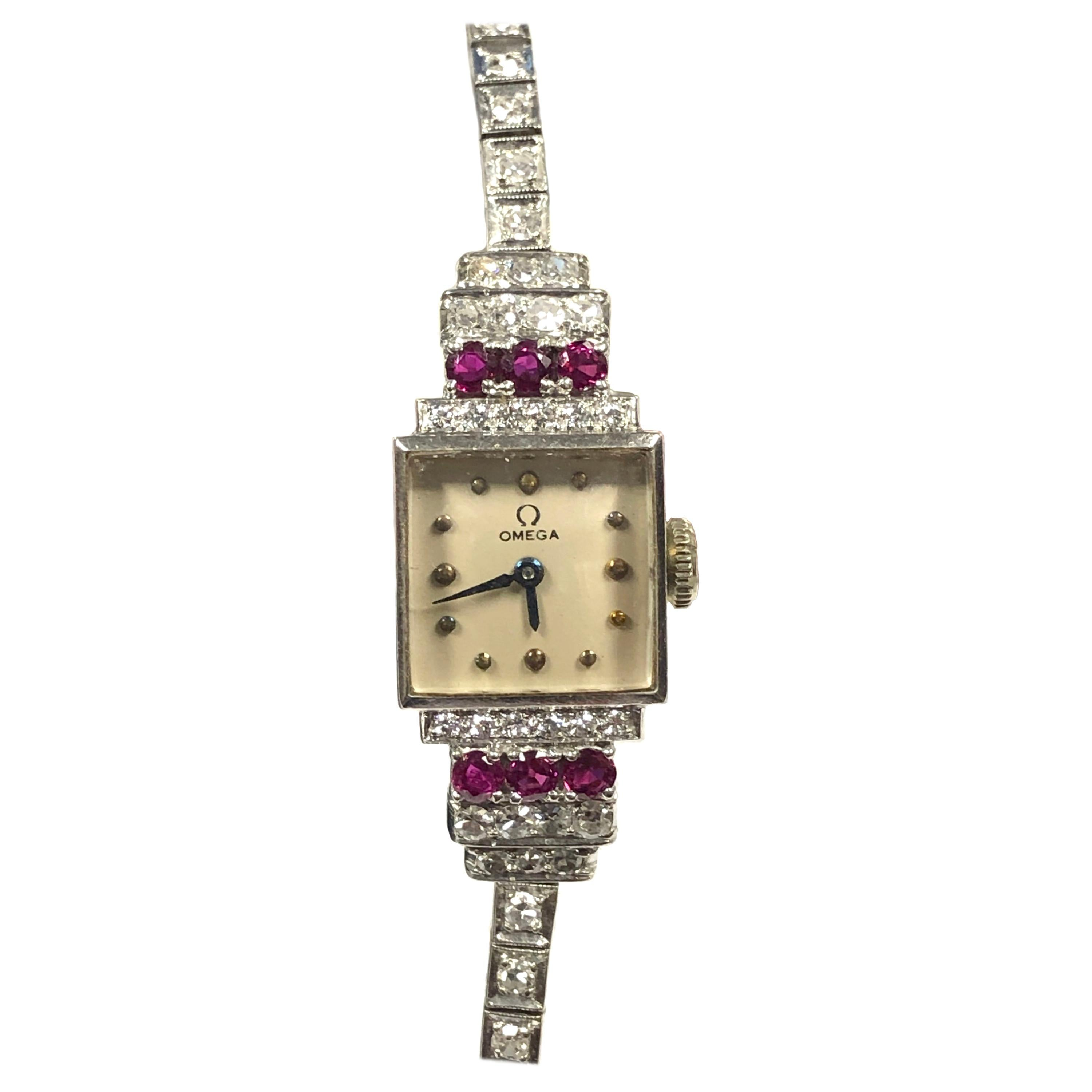 Omega Vintage Platinum Diamonds and Rubies Ladies Mechanical Wrist Watch