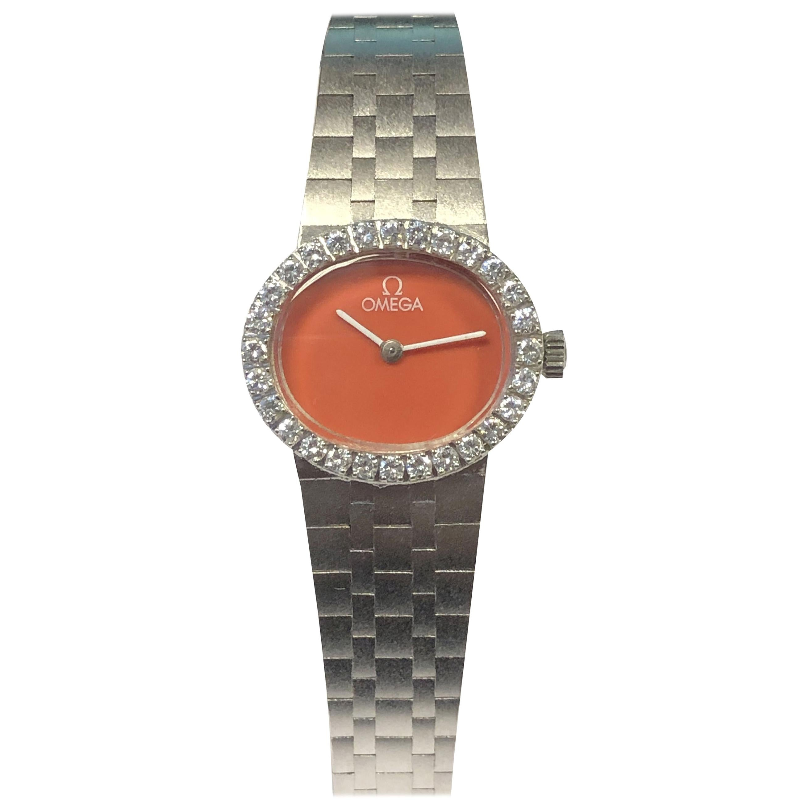 Omega Vintage White Gold Diamond and Coral Dial Ladies Mechanical Wristwatch