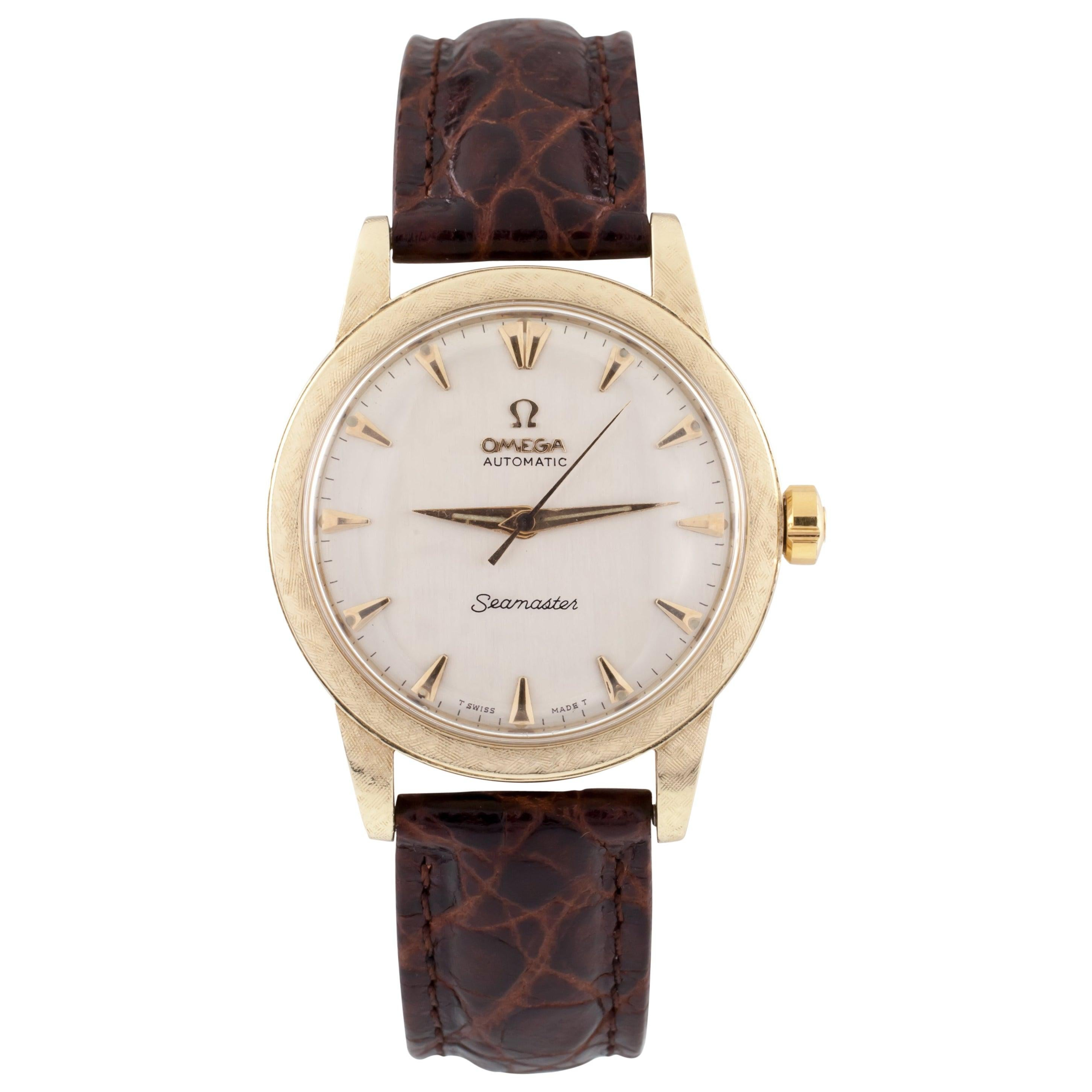 Omega Yellow Gold Automatic Seamaster Men's Watch with Leather Band