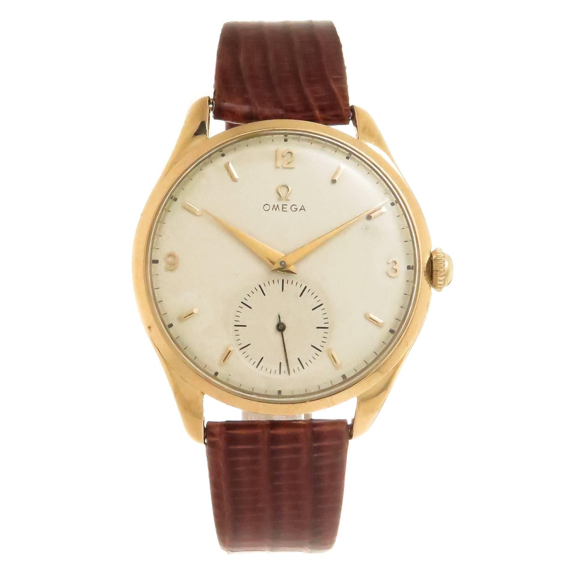 Omega Yellow Gold Oversized Manual Wind Wristwatch, 1940s