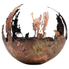 Omer Arbel 113 Series, Unique Vessel N08 in Copper Alloy Casted in Glass