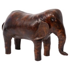 Omersa Leather Elephant Ottoman or Sculpture