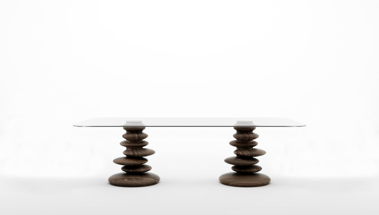 Italian Ometto-260 Dining Table with Walnut Base and Rectangular Glass Top by Zanaboni For Sale