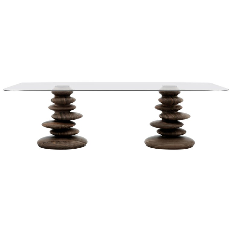 Ometto-260 Dining Table with Walnut Base and Rectangular Glass Top by Zanaboni For Sale