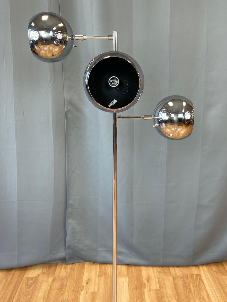 Polished OMI for Koch & Lowy Chrome Orb Three-Light Floor Lamp, Late 1960s For Sale