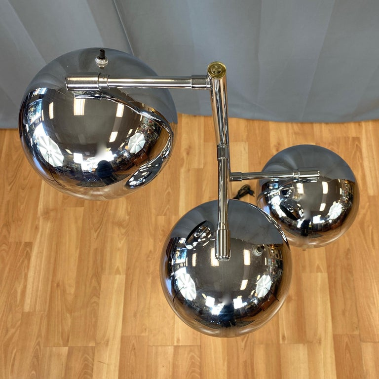 Nickel OMI for Koch & Lowy Chrome Orb Three-Light Floor Lamp, Late 1960s For Sale