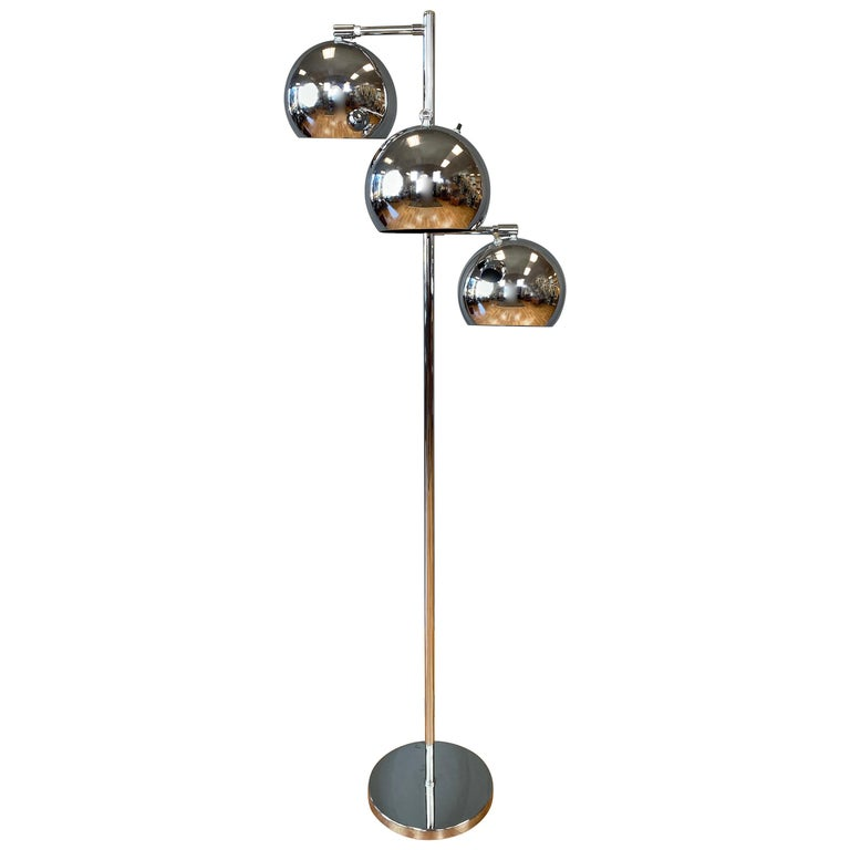 OMI for Koch & Lowy Chrome Orb Three-Light Floor Lamp, Late 1960s For Sale
