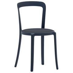 On & On Stacking Chair in Plastic with Dark Blue Fabric 1 by Barber & Osgerby