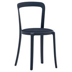 On & On Stacking Chair in Plastic with Dark Blue Fabric 2 by Barber & Osgerby