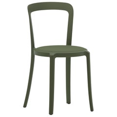 On & On Stacking Chair in Plastic with Green Fabric 1 by Barber & Osgerby
