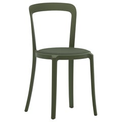 On & On Stacking Chair in Plastic with Green Fabric 2 by Barber & Osgerby