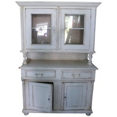 1900's French Farmhouse Pale Yellow Shabby Chic Mansion Breakfront