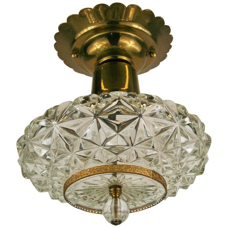 Mid-20th Century Faceted Glass Ceiling Fixture For Sale