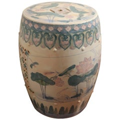 ON SALE!  Lotus, Cranes and Dragon Flies Oh My! Ruan Cai Asian Garden Stool