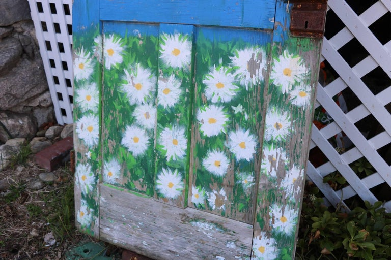 Mid-Century Modern Old Antique Door. Hand Painted Chippy Blue and Beautiful Daisies.  Tortoise Knob For Sale