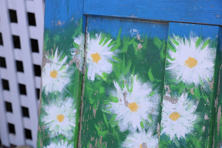 American Old Antique Door. Hand Painted Chippy Blue and Beautiful Daisies.  Tortoise Knob For Sale