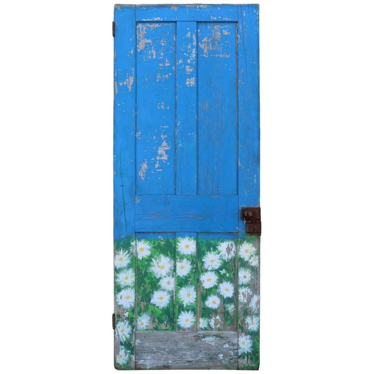Old Antique Door. Hand Painted Chippy Blue and Beautiful Daisies.  Tortoise Knob For Sale