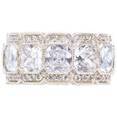 On Sale!! Stunning White Micropave Cubic Zirconia Half Inch Wide Band