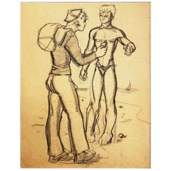 """On the Beach,"" Drawing of Sailor and Swimmer by Avel deKnight, Black Artist"