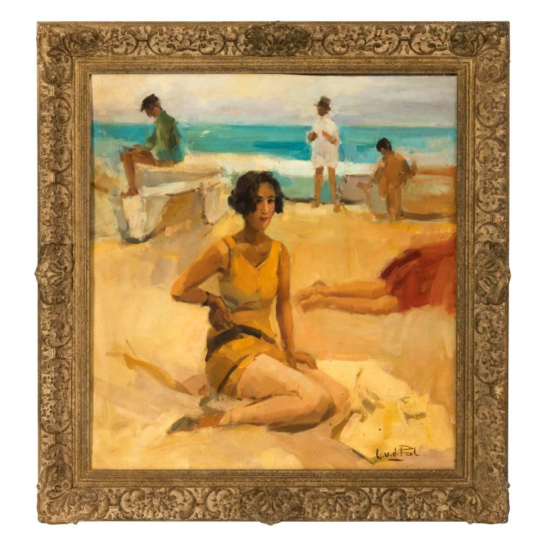 """On the Beach"" Oil on Canvas, circa 1950s"