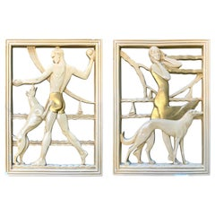 """On the Beach,"" Rare Art Deco Sculptural Reliefs with Bolshoi & Greyhound, Pair"