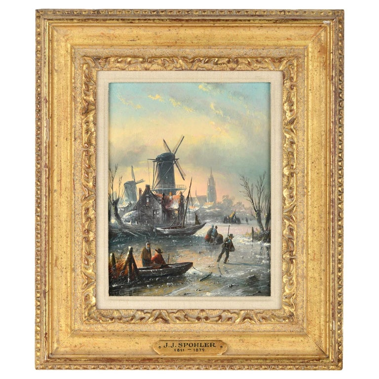 """""""On the Frozen Canal"""" by Jan Jacob Coenraad Spohler For Sale"""