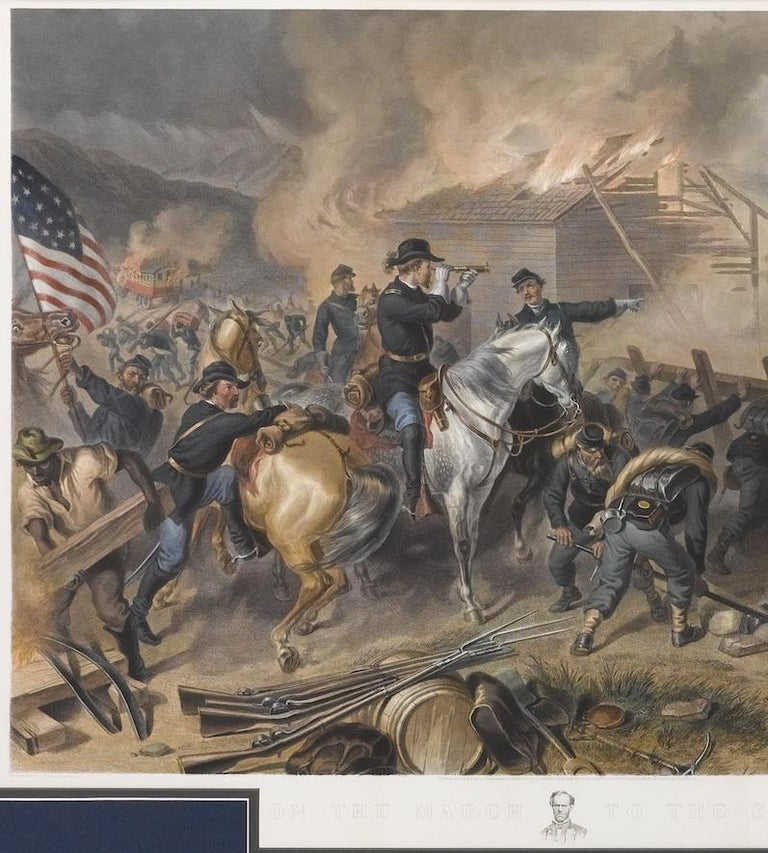 This color print of On The March to the Sea by Felix O.C. Darley, and engraved by A.H. Ritchie, is a stunning portrayal of William T. Sherman's notorious Georgia Campaign. Originally published in 1868 by L. Stebbins in Hartford, Connecticut, this