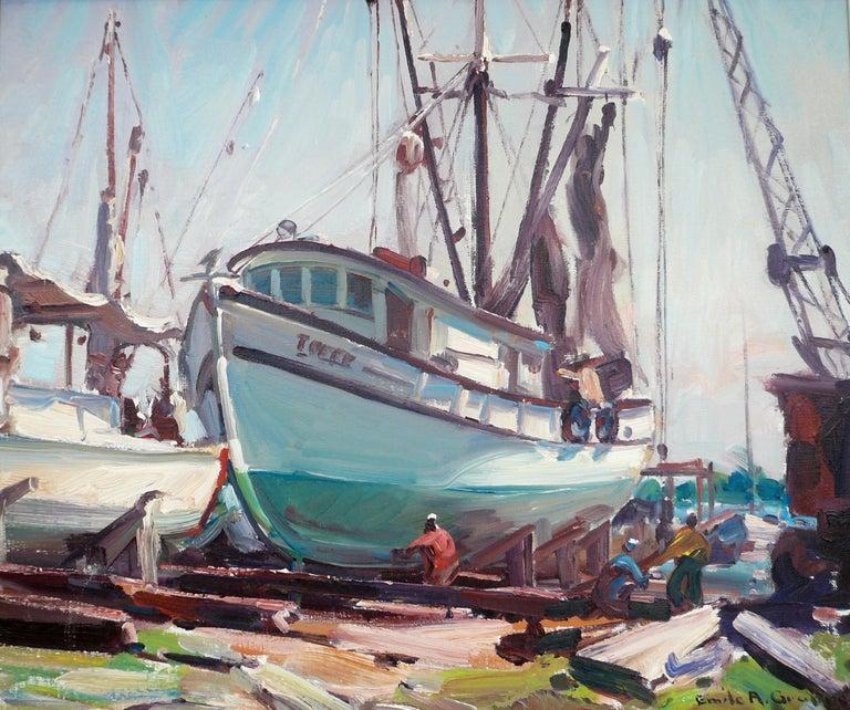 This Gloucester harbor scene is by the renown American marine painter Emile Albert Gruppe (1896-1978). Born in Rochester New York. Gruppe settled in Gloucester Massachusetts on Cape Ann in the early 1930s where he established the Gloucester School
