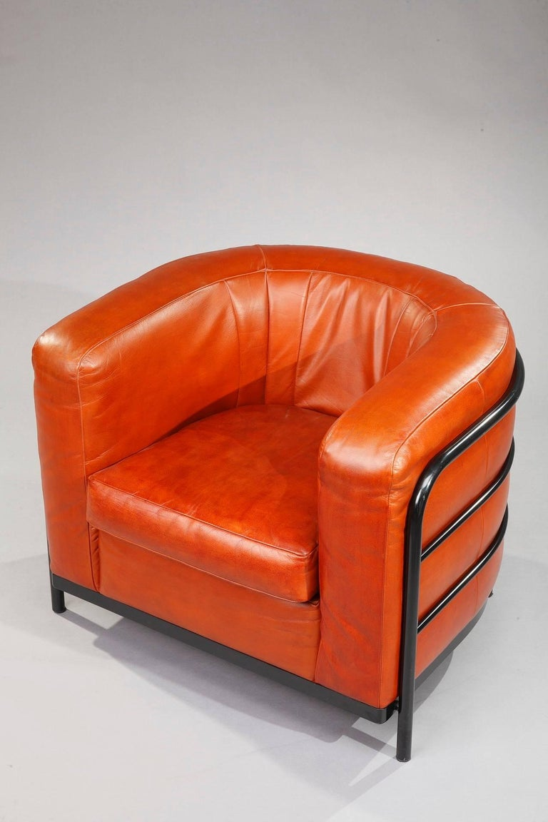 Onda Armchair In Orange Leather Designed By Jonathan De Pas Donato DUrbino And