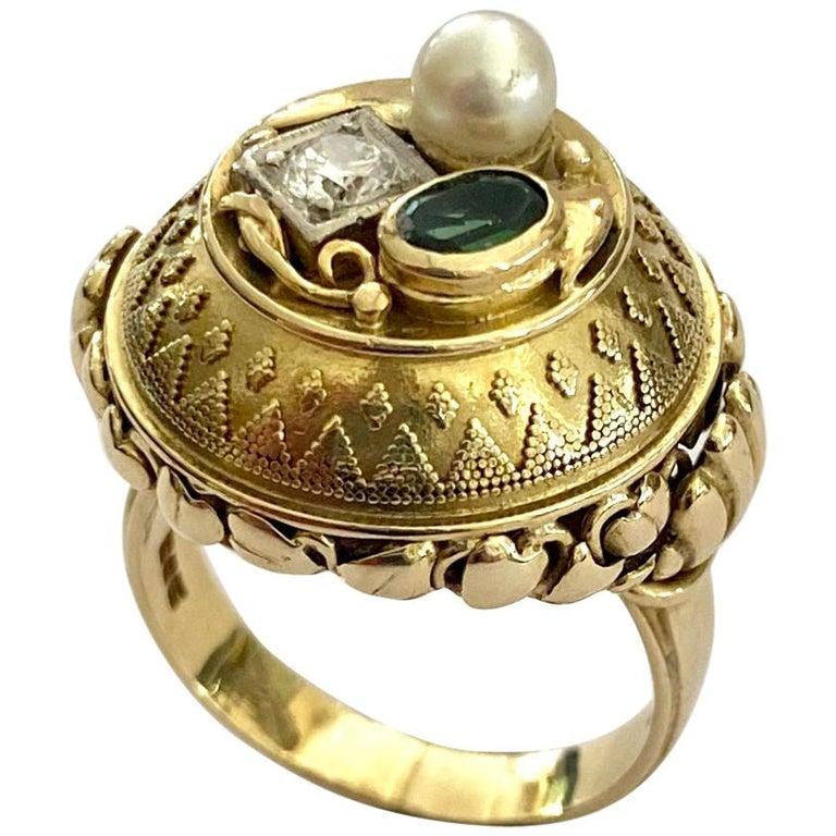 One '1' 14 Karat Gold Ring, Cocktail Model, 1 Diamond, 1 Tourmaline, 1 Pearl For Sale