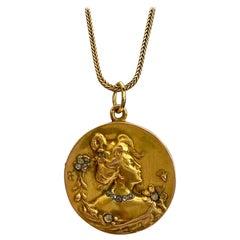 "One '1' 14 Karat Yellow Gold ""MEADAILLON"" Art Nouveau or Jugendstil 1900 Signed"