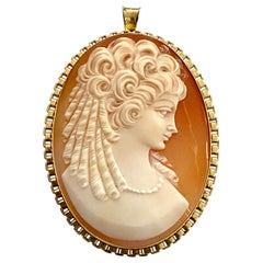 One '1' 14 Karat Yellow Gold Brooch/Pendant Set with One Oval Cameo Nacre, 1960