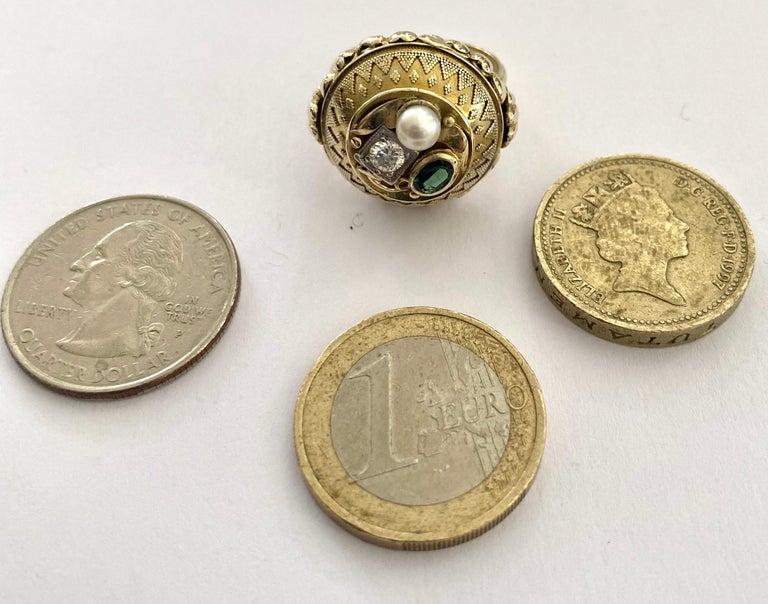 One '1' 14 Karat Gold Ring, Cocktail Model, 1 Diamond, 1 Tourmaline, 1 Pearl For Sale 4