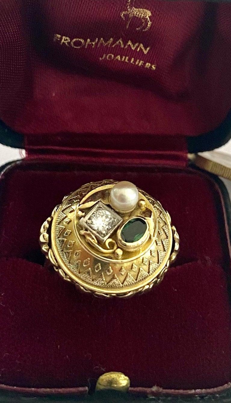 One '1' 14 Karat Gold Ring, Cocktail Model, 1 Diamond, 1 Tourmaline, 1 Pearl For Sale 5