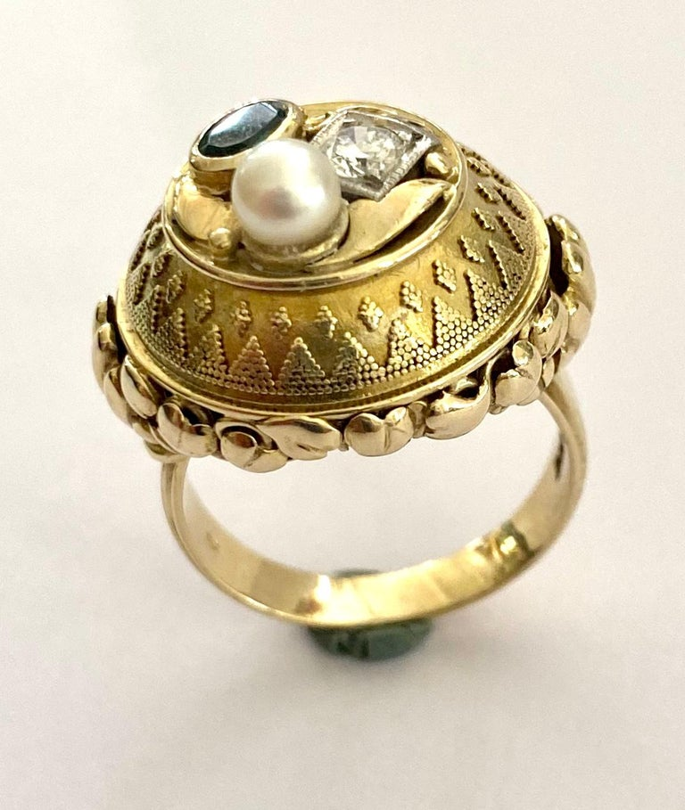 Etruscan Revival One '1' 14 Karat Gold Ring, Cocktail Model, 1 Diamond, 1 Tourmaline, 1 Pearl For Sale