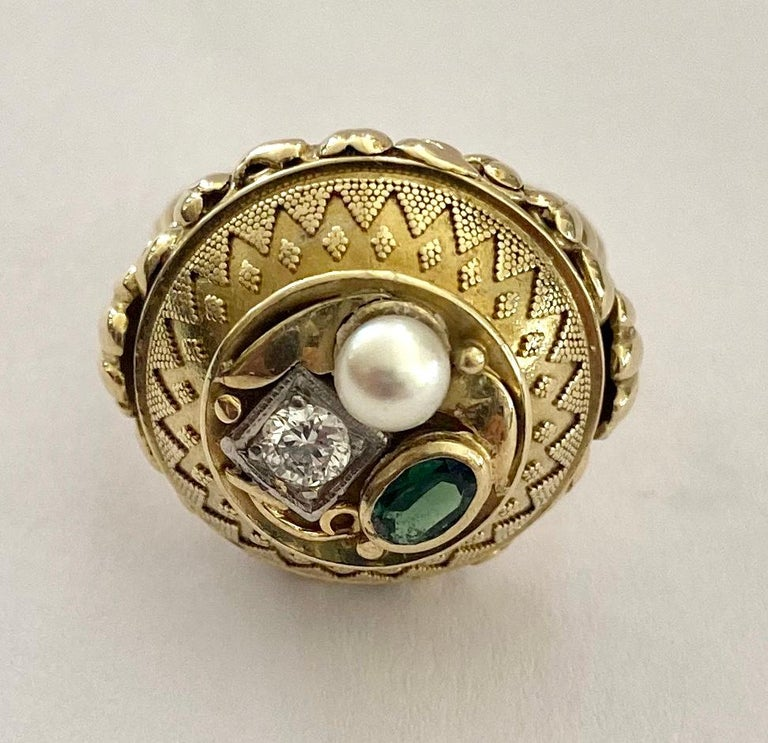 Women's One '1' 14 Karat Gold Ring, Cocktail Model, 1 Diamond, 1 Tourmaline, 1 Pearl For Sale
