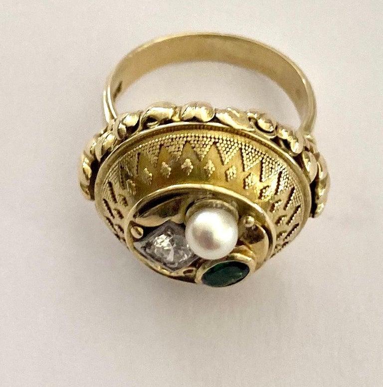 One '1' 14 Karat Gold Ring, Cocktail Model, 1 Diamond, 1 Tourmaline, 1 Pearl For Sale 1