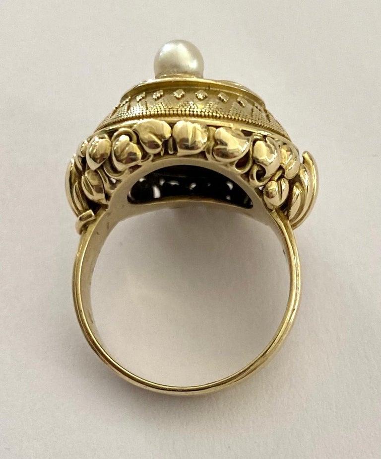 One '1' 14 Karat Gold Ring, Cocktail Model, 1 Diamond, 1 Tourmaline, 1 Pearl For Sale 2